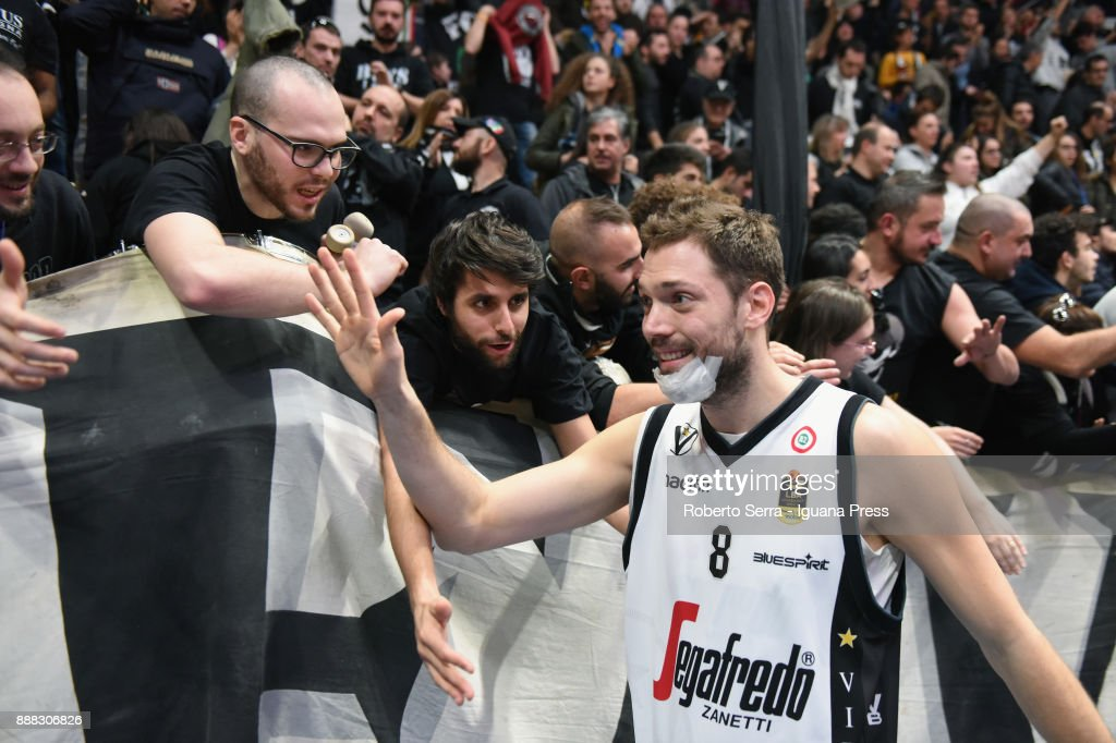Filippo Baldi Rossi of Segafredo celebrates during the LBA LegaBasket of Serie A match between Virtus Segafredo Bologna and Vanoli Cremona at PalaDozza on December 3, 2017 in Bologna, Italy.
