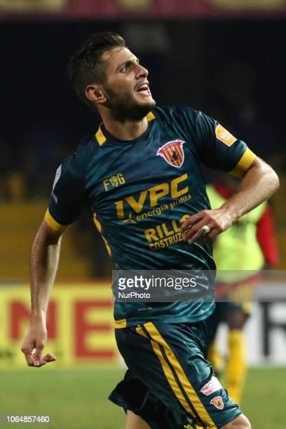 Filippo Bandinelli celebrates a goal during the Italian Serie B football match between Benevento Calcio v AC Perugia at stadium Ciro Vigorito in...