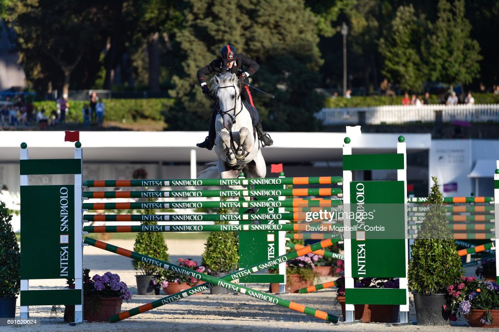 Filippo Bologni riding Cassino, during the Six barriers (height 1.90 mt.) Piazza di Siena Bank Intesa Sanpaolo in the Villa Borghese on May 27, 2017 in Rome, Italy.