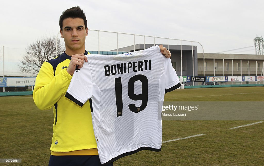 Filippo Boniperti of Parma FC poses with the club shirt during new signings official portraits at the club's training ground on February 5, 2013 in Collecchio, Italy.