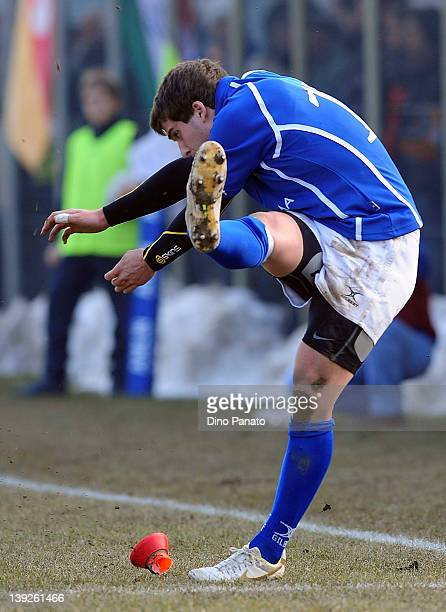 Filippo Buscema of Italy U18 scores the kick for goal during the U18 rugby test match between Italy U18 and Ireland U18 on February 18 2012 in Badia...