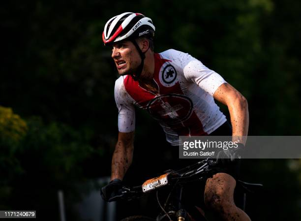 Filippo Colombo of Switzerland during the Cross-country men's Under 23 Cross-Country Olympic Distance race at the UCI Mountain Bike World...