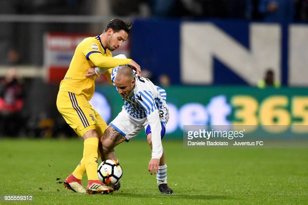 Filippo Costa of Spal and Mattia De Sciglio of Juventus during the serie A match between Spal and Juventus at Stadio Paolo Mazza on March 17 2018 in...