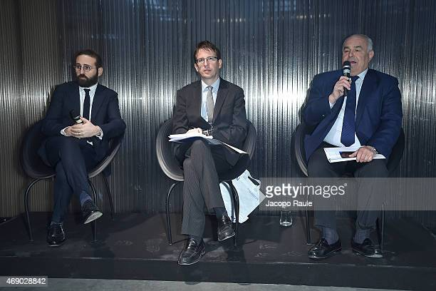 Filippo Del Corno, Vincenzo de Bellis and Michele Perini attend 'Miart 2015' Press Preview on April 9, 2015 in Milan, Italy.
