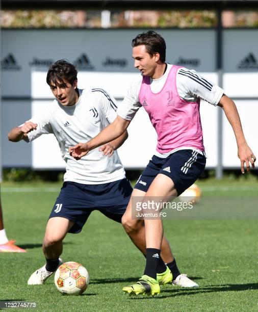 Filippo Delli Carri of Juventus U23 challenged by Filippo Ranocchia of Juventus U23 during the Juventus U23 Training Session at Juventus Center...