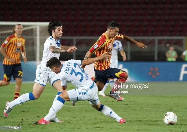 "Filippo Falco of US Lecce during the Serie A match between US Lecce and Brescia FC on July 22, 2020 stadium ""via del Mare"" in Lecce, Italy"