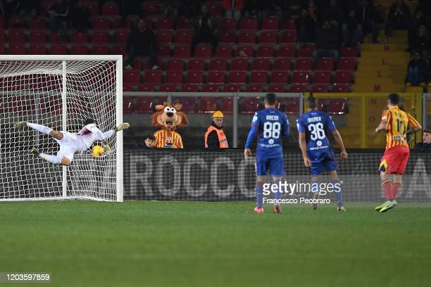 Filippo Falco of US Lecce scores the 30 goal during the Serie A match between US Lecce and Torino FC at Stadio Via del Mare on February 02 2020 in...