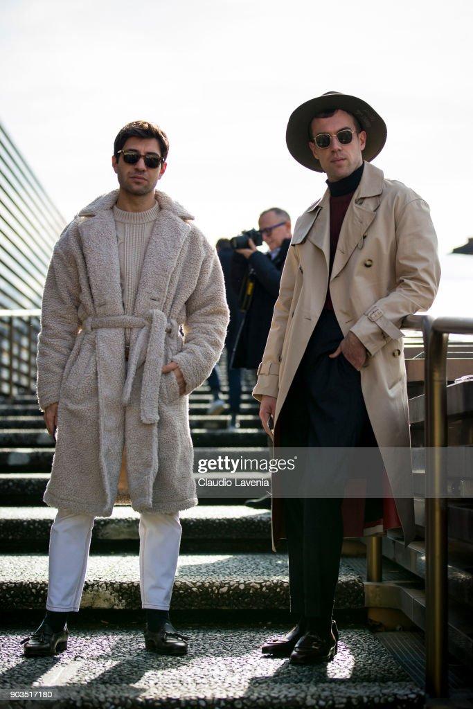 Filippo Fiora (L) and Filippo Cirulli (R) are seen during the 93. Pitti Immagine Uomo at Fortezza Da Basso on January 10, 2018 in Florence, Italy.