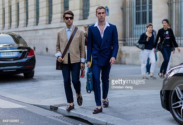 Filippo Fiora and Filippo Cirulli outside Hermes during the Paris Fashion Week Menswear Spring/Summer 2017 on June 25 2016 in Paris France