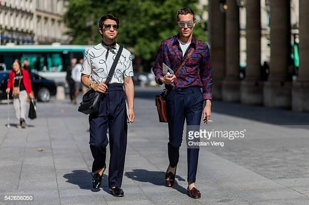 Filippo Fiora and Filippo Cirulli outside Louis Vuitton during the Paris Fashion Week Menswear Spring/Summer 2017 on June 23 2016 in Paris France