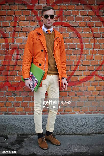 Filippo Fiora wears Burberry total look outside the Fendi Fashion Show on day 2 of Milan Fashion Week Womenswear Autumn/Winter 2014 on February 20...
