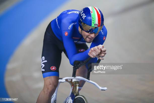 Filippo Ganna competes in the Men's Individual Pursuit Qualifying race on day three of the UCI Track Cycling World Championships held in the BGZ BNP...