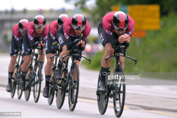Filippo Ganna of Italy and Team INEOS / Ben Swift of the United Kingdom and Team INEOS / during the 3rd Velon Hammer Series 2019 Hammer Chase a 489km...