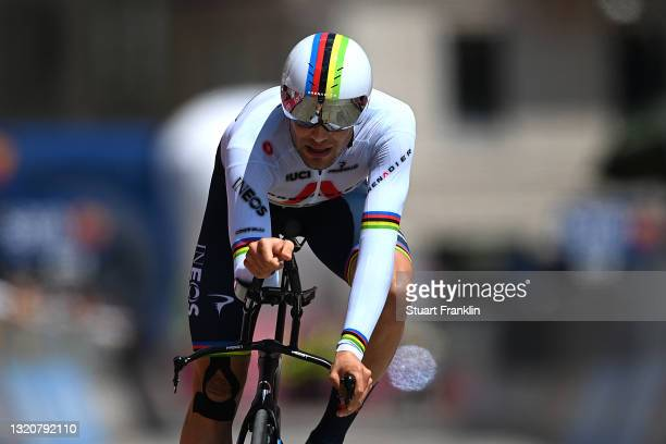 Filippo Ganna of Italy and Team INEOS Grenadiers at arrival during the 104th Giro d'Italia 2021, Stage 21 a 30,3km Individual Time Trial stage from...