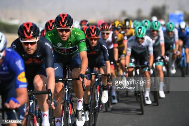 Filippo Ganna of Italy and Team INEOS Grenadiers Green Points Jersey during the 3rd UAE Tour 2021, Stage 4 a 204km stage from Al Marjan Island to Al...