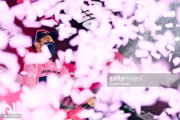 Filippo Ganna of Italy and Team INEOS Grenadiers Pink Leader Jersey celebrates at podium during the 104th Giro d'Italia 2021, Stage 2 a 179km stage...