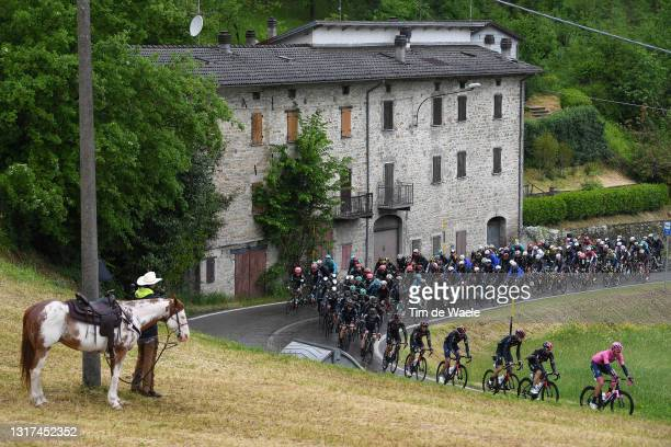 Filippo Ganna of Italy and Team INEOS Grenadiers Pink Leader Jersey leads The Peloton during the 104th Giro d'Italia 2021, Stage 4 a 187km stage from...