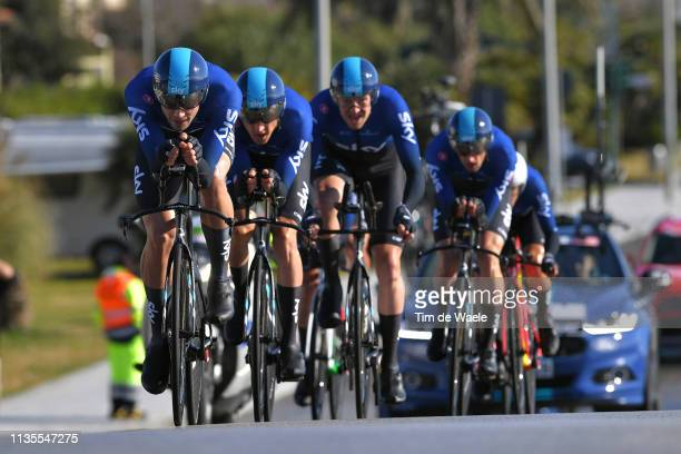 Filippo Ganna of Italy and Team Sky / during the 54th TirrenoAdriatico 2019 Stage 1 a 215km Team Time Trial stage from Lido Di Camaiore to Lido Di...