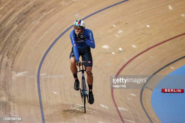Filippo Ganna of Italy celebrates after setting world record during Men's Individual Pursuit Qualifying during day 3 of the UCI Track Cycling World...
