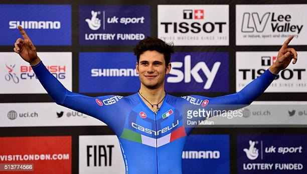 Filippo Ganna of Italy celebrates his gold medal after winning The Men's Individual Persuit Final during Day Three of the UCI Track Cycling World...