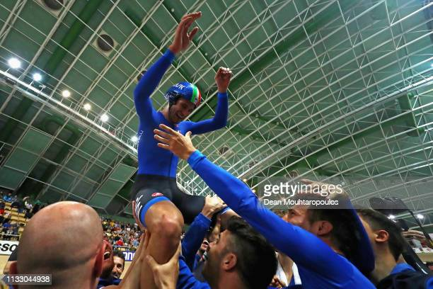 Filippo Ganna of Italy celebrates winng the gold medal in the Men's individual pursuit final on day three of the UCI Track Cycling World...