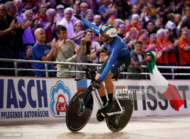 Filippo Ganna of Italy celebrates winning gold after the Men's Individual Pursuit Gold Medal Race during day 3 of the UCI Track Cycling World...