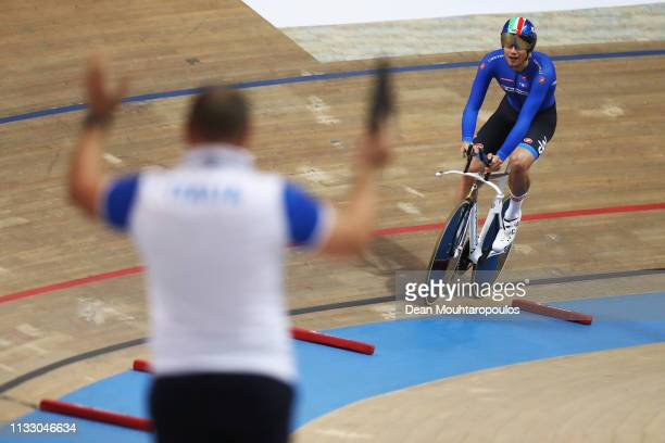 Filippo Ganna of Italy celebrates winning the gold medal in the Men's individual pursuit final on day three of the UCI Track Cycling World...