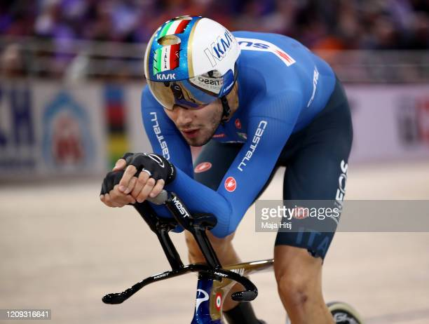 Filippo Ganna of Italy competes during the Men's Individual Pursuit Gold Medal Race during day 3 of the UCI Track Cycling World Championships Berlin...