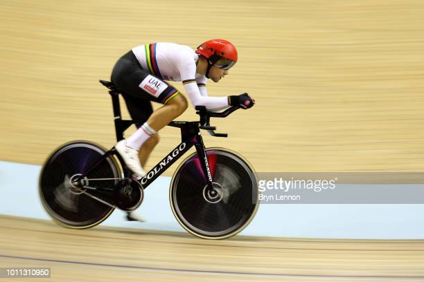 Filippo Ganna of Italy competes in the Men's 4000m Individual Pursuit Qualifying round during the Track Cycling on Day Four of the European...