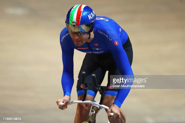 Filippo Ganna of Italy competes in the Men's Individual Pursuit Qualifying race on day three of the UCI Track Cycling World Championships held in the...
