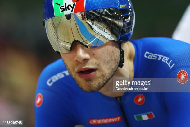 Filippo Ganna of Italy competes on his way to winning the gold medal in the Men's individual pursuit final on day three of the UCI Track Cycling...