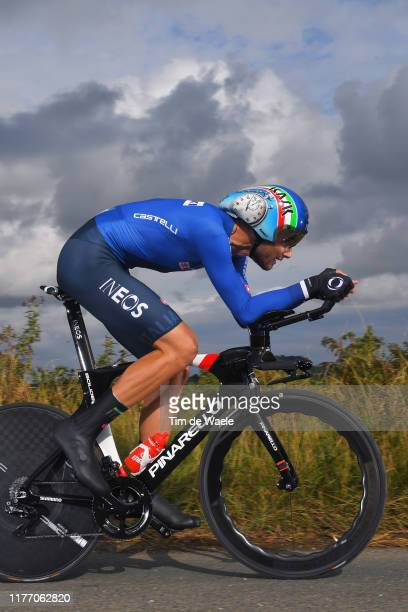 Filippo Ganna of Italy / during the 92nd UCI Road World Championships 2019 Individual Time Trial Men Elite a 54km race from Northhallerton to...