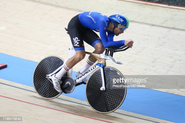 Filippo Ganna of Italy during UCI Track Cycling World Championships on March 1 2019 in Pruszkow Poland