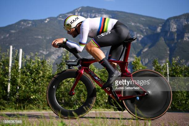 Filippo Ganna of Italy sprints during the 27th UEC Road Cycling European Championships 2021 - Elite Men's Individual Time Trial a 22,4km race from...