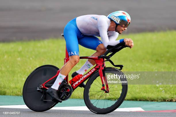 Filippo Ganna of Team Italy rides during the Men's Individual time trial on day five of the Tokyo 2020 Olympic Games at Fuji International Speedway...