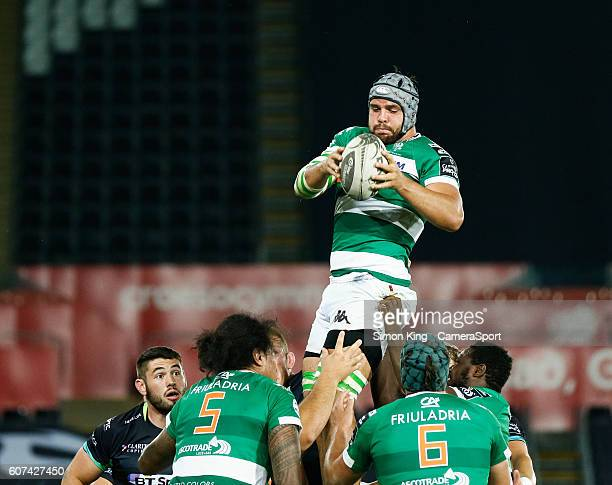 Filippo Gerosa of Benetton Treviso claims the lineout during the Guinness PRO12 Round 3 match between Ospreys and Benetton Rugby Treviso at Liberty...