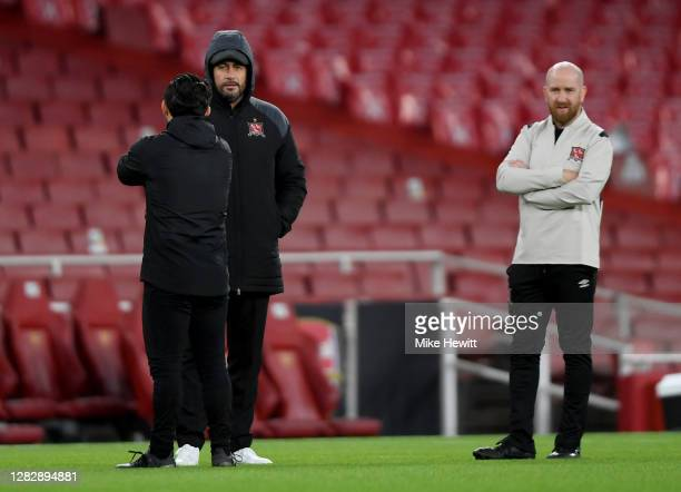 Filippo Giovagnoli Head Coach of Dundalk and Shane Keegan Opposition Analyst of Dundalk look on during the warm up prior to the UEFA Europa League...