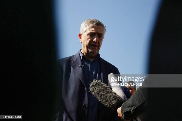 Filippo Grandi the United Nations High Commissioner for Refugees speaks with journalists during his visit to a refugee camp in the village of...