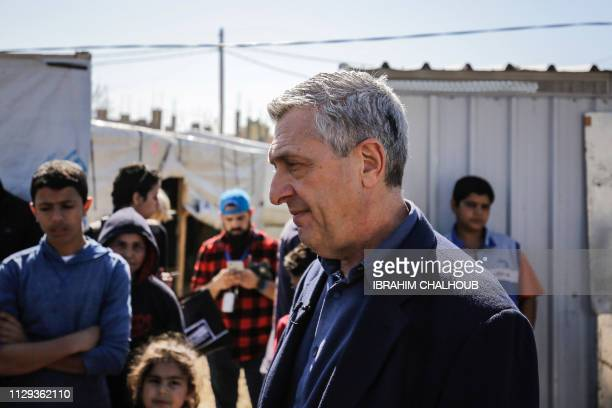 Filippo Grandi the United Nations High Commissioner for Refugees meets with Syrian refugee children at a camp in the village of Mhammara in the...