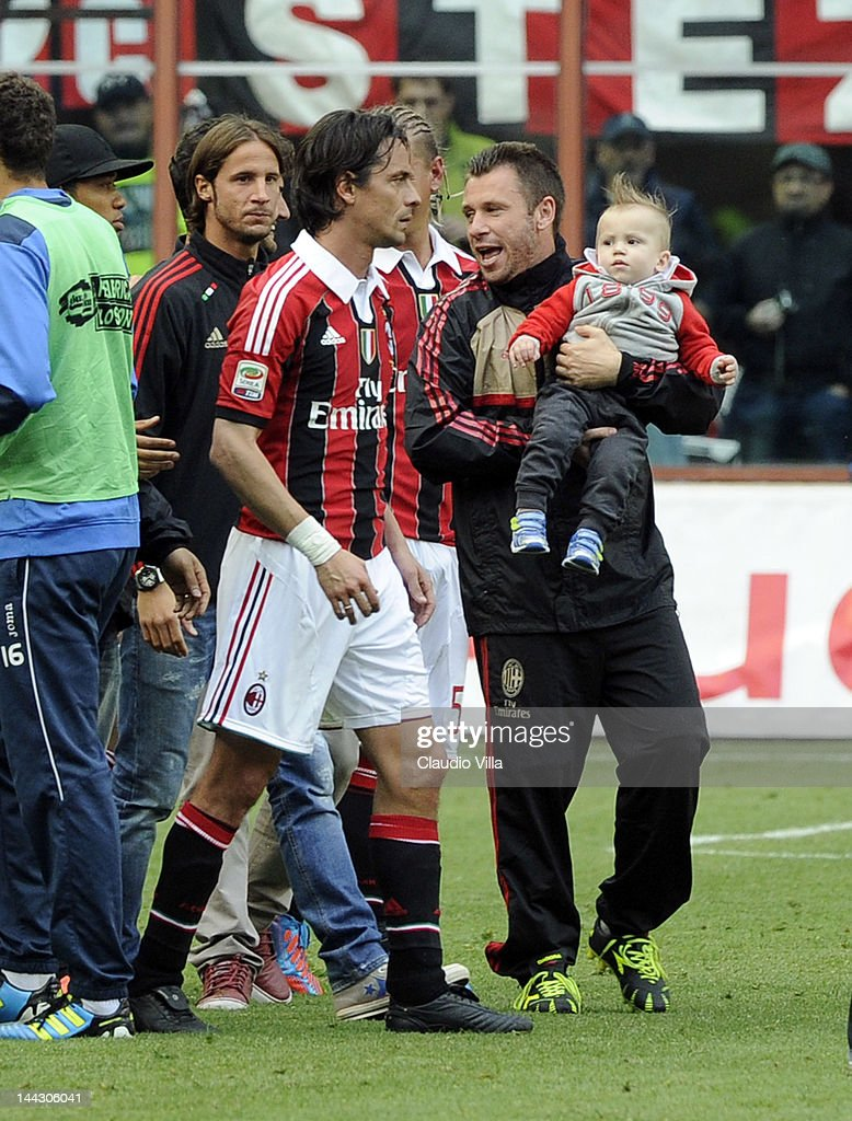 Filippo Inzaghi, Antonio Cassano and Christopher Cassano after the Serie A match between AC Milan and Novara Calcio at Stadio Giuseppe Meazza on May 13, 2012 in Milan, Italy.