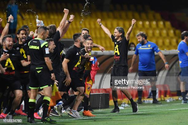 Filippo Inzaghi Benevento Calcio coach and his players celebrate the promotion in Serie A during the serie B match between Benevento Calcio and SS...