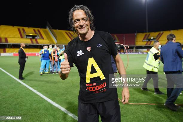 Filippo Inzaghi Benevento Calcio coach celebrates the victory of Serie B after the serie B match between Benevento Calcio and SS Juve Stabia at...