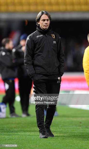 Filippo Inzaghi Benevento Calcio coach during warm up before the Serie B match between Benevento Calcio and Ascoli Calcio at Stadio Ciro Vigorito on...