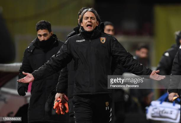 Filippo Inzaghi Benevento Calcio coach gestures during the Serie B match between Benevento Calcio and Pisa at Stadio Ciro Vigorito on January 19,...