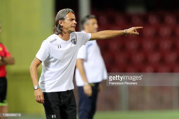 Filippo Inzaghi Benevento Calcio coach gestures during the serie B match between Benevento Calcio and ChievoVerona at Stadio Ciro Vigorito on July...