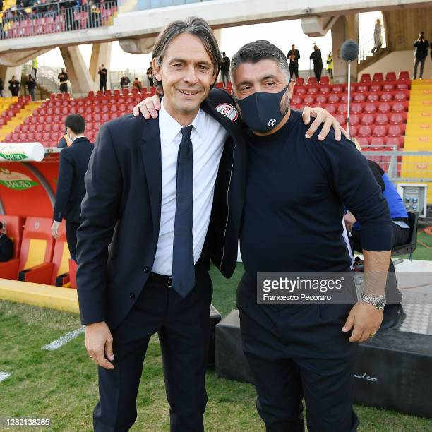 Filippo Inzaghi Benevento Calcio coach greets Gennaro Gattuso SSC Napoli coach before the Serie A match between Benevento Calcio and SSC Napoli at...