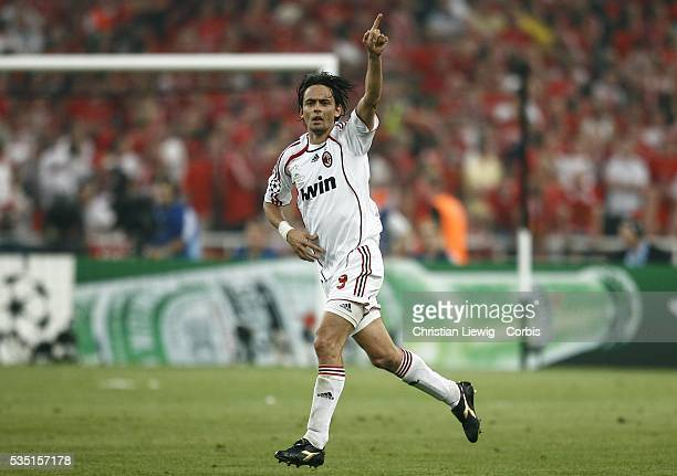 Filippo Inzaghi celebrates during the 20062007 UEFA Champions League final between AC Milan and Liverpool FC