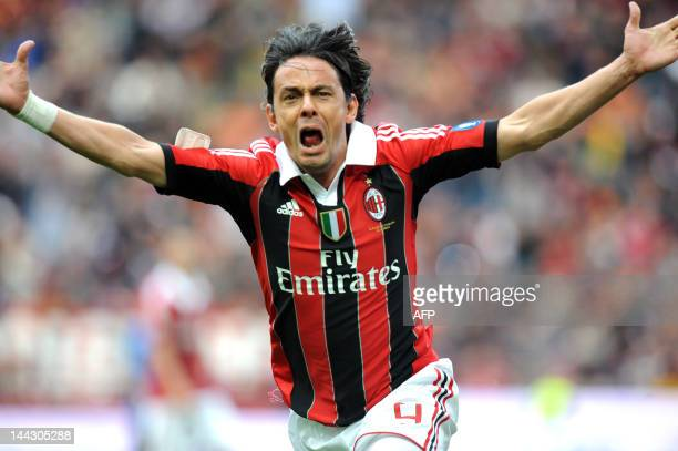 Filippo Inzaghi celebrates scoring during the Italian Serie A football match between AC Milan vs Novara on May 13, 2012 in Milan. Filippo Inzaghi,...
