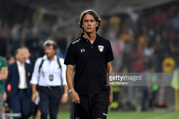 Filippo Inzaghi coach of Benevento looks on during the Serie B match between Salernitana and Benevento Calcio at Stadio Arechi on September 16, 2019...
