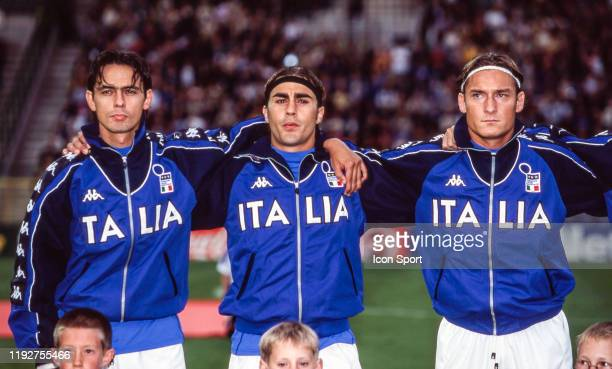 Filippo Inzaghi, Fabio Cannavaro and Francesco Totti of Italy during the Quarter Final European Championship match between Italy and Romania, at King...